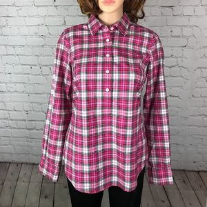 Vineyard Vines Popover Plaid Blouse Shirt Top